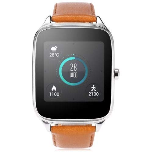 Asus ZenWatch 2 Wi-Fi Andriod/iOS Bluetooth Touchscreen Smartwatch Silver Case w/Camel Leather Band WI501Q-SL (Renewed)