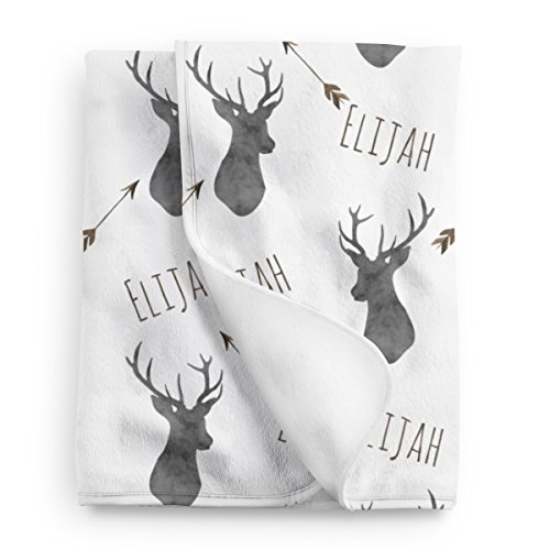 Personalized Deer Fleece Baby Boys Blanket, Charcoal and brown print (Personalized Baby Boy Gifts)