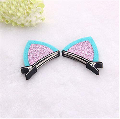 Lovely Girl Cute Wool Felt Cat Fox Ear Hair Clip Children Baby Kids Hair Accessories Hairpins Barrettes Headwear Double Pcs2