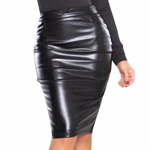 QIYUN.Z Femmes Sexy Bodycon PU Cuir Paquet Hips Envelopper Jupes Noir
