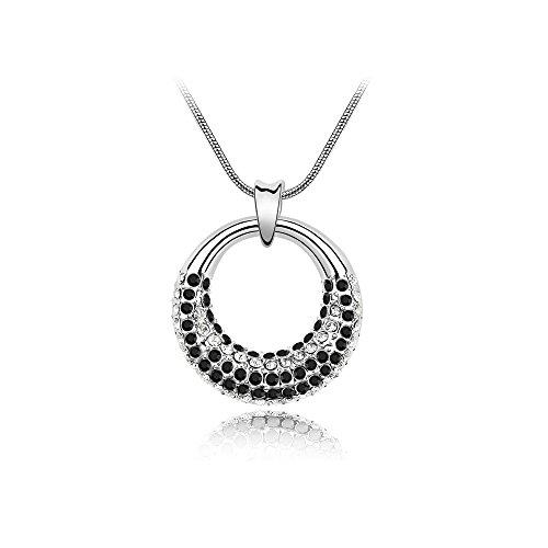 The Starry Night Moonlight Raining Black Silver Plated 18K Circle Necklace For Fashion Womens (Raining Hearts Rhinestones)