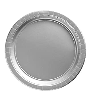 "Amscan 650013.18 Big Party Pack Paper, Silver Plates, 9"", (B004UUKA1A) 