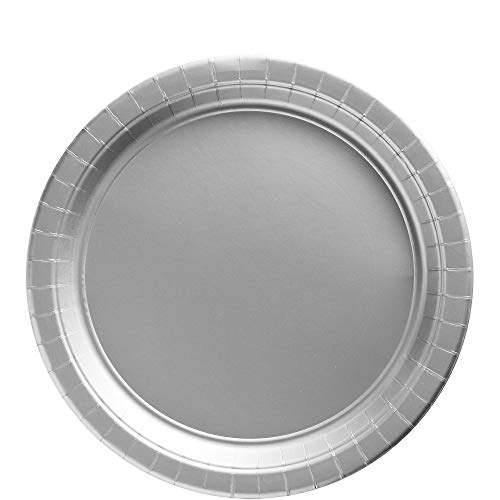 Amscan 650013.18 Big Party Pack Paper, Silver Plates, 9
