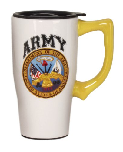 Spoontiques Army Travel Mug, White (Army Mug Travel)