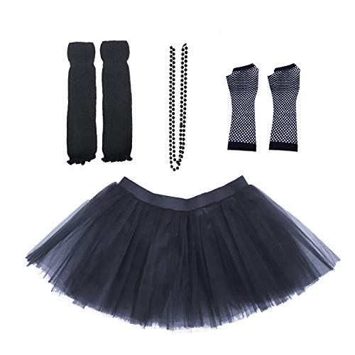 Dreamdanceworks 80s Fancy Costume Set - TUTU & LEG WARMERS & FISHNET GLOVES & BEADS (Black) -