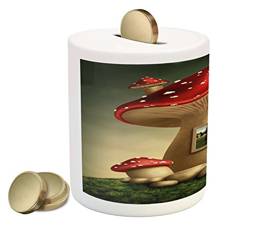 Mushroom Piggy Bank by Lunarable, Alone Fantasy Mushroom House in Fantasy Forest Cottage Window Surreal, Printed Ceramic Coin Bank Money Box for Cash Saving, Pale Brown Green Red