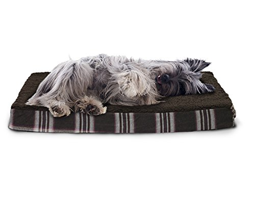 FurHaven Pet Dog Bed   Deluxe Orthopedic Faux Sheepskin & Plaid Pet Bed for Dogs & Cats, Java Brown, Medium