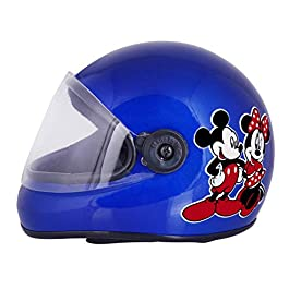 Sage Square Adjustable Full Face Helmet for Kids Baby Safety & Comfort (3-12 Years) (Mickey Minnie Mouse, Blue Glossy)