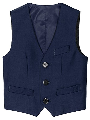 Percy Perry Little Boy's 3 Button Fully Lined Formal Suit Vest Navy Blue 90CM by Percy Perry