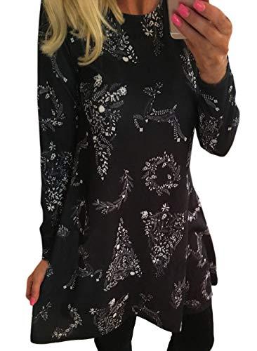 Vestido Redondo Fashion Moda Slim Impresión Mujeres de Larga Casual Corto Navidad Fiesta Simple Primavera y Vestidos Partido Cuello Manga Otoño Hw4qqf8