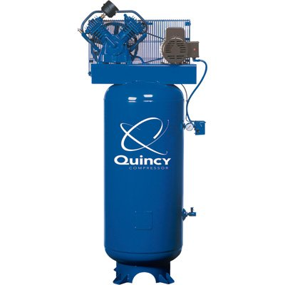 Quincy QT-54 Splash Lubricated Reciprocating Air Compressor - 5 HP, 230 Volt, 1 Phase, 60-Gallon Vertical, Model# 2V41C60VC