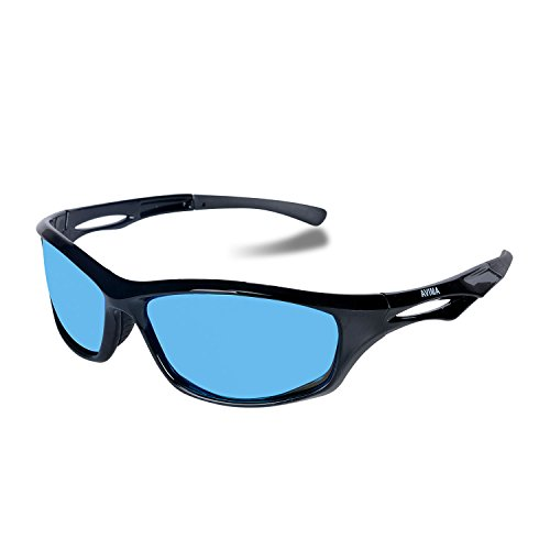 AVIMA BEST Unisex Polarized Tr90 Unbreakable Frame Sports Sunglasses for Running Baseball Cycling Fishing Volleyball Driving Skiing Golf Traveling (Black/Black With Blue ()