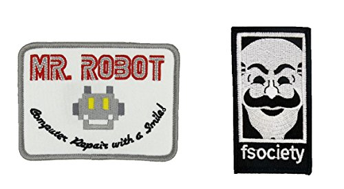 MR Robot FSOCIETY TV Series Show Embroidery SET of 2 Patches White Halloween costume Badge Shirt Jacket Cap Hat Geek Gift Easy Iron/Sew On