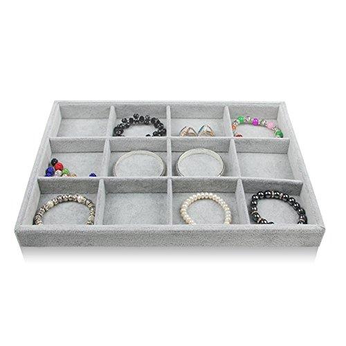 BOCAR Grey Velvet 12 Compartment Jewelry Display Showcase Organizer Holder for Necklace Bracelet Ring Earring (GP=12G)