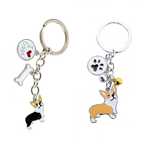 Stock Show 2Pcs/Pack Cute Corgi Keychain Keyrings with Paw and Bone Heart Bells Pendants for Car Women Purse Bag KeyChain Ring Kids Friends Dog Lover Gift, Black+Yellow