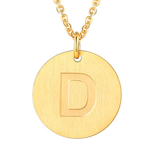 (PROSTEEL Initial Letter Necklaces 18K Plated Alphabet D Personalized Men Women Jewelry Gift Minimalist Layering Layered Gold Coin Necklace)