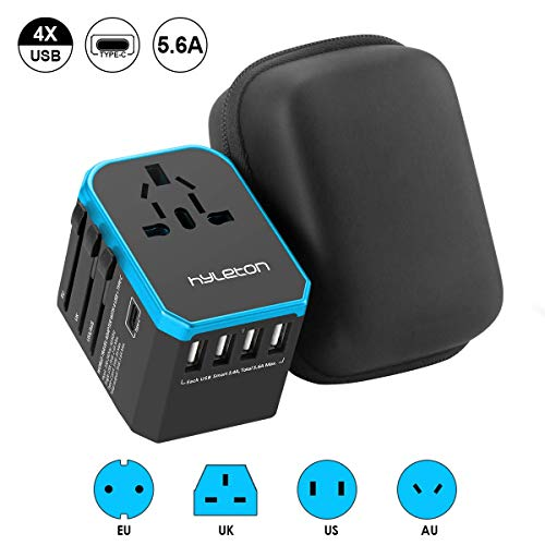 International Travel Power Adapter, Hyleton Worldwide Travel Plug Adapter with 5.6A High Speed Charging 4 USB Ports and 1 Type C Port for US, EU,UK,AU,Asia (lxc-blue)