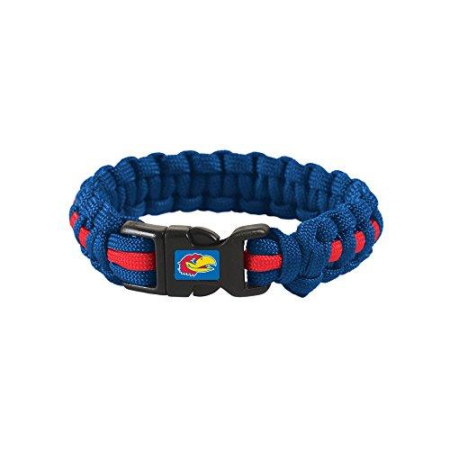 WinCraft Kansas Jayhawks Official NCAA Adult S/M 8 inch Long Survival Bracelet by - Long 8' Bracelet