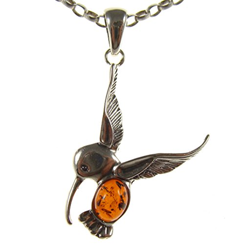 BALTIC AMBER AND STERLING SILVER 925 BIRD PENDANT NECKLACE – 14 16 18 20 22 24 26 28 30 32 34 1mm ITALIAN SNAKE CHAIN