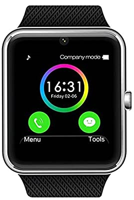 Antimi Sweatproof Smart Watch Phone for Android/HTC/Sony/Samsung/LG/Google Pixel and iPhone 5/5S/6/6 Plus 7 Smartphones - Silver