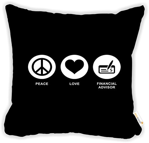 Rikki Knight Peace Love Financial Advisor Black Color Microfiber Throw D Cor Pillow Cushion 18  Square Double Sided Print  Insert Included