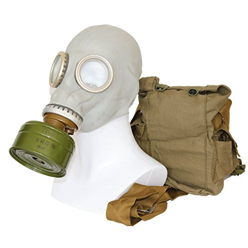 OldShop Gas Mask GP5 Set - Soviet Russian Military Gasmask replica Collectable Item Set W/ Mask, Bag, Filter & Bonus Anti-Fog Stickers Included - Authentic Look & Several Color: Grey   Size: XL (4Y)