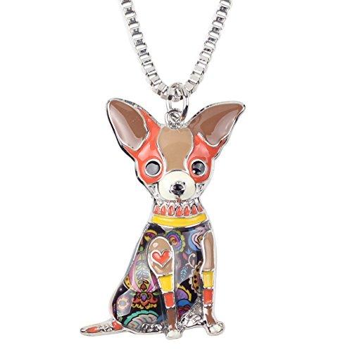 BONSNY Love Pets Enamel Zinc Alloy Metal Chihuahua Necklace Dog Animal Pendant 18 (Brown)