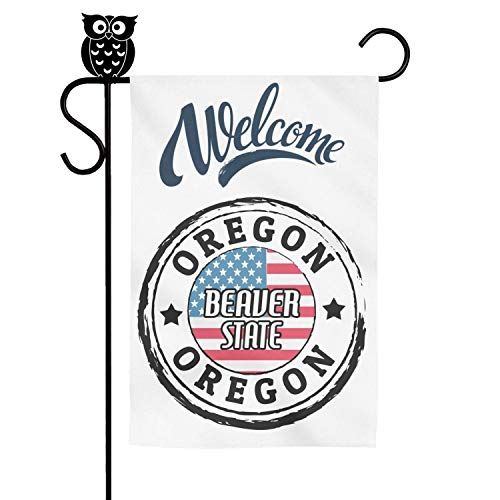 LAIDIAN Welcome Garden Flag 12 18 Inch Oregon Culture Beaver State Vertical Decorative Flags