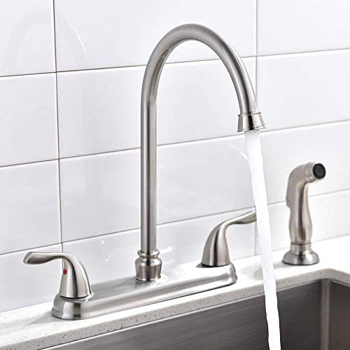 SHACO Brushed Nickel Two Handle Stainless Steel Kitchen Faucet With Sprayer,High Arch 360 Swivel Kitchen Faucet Side Sprayer