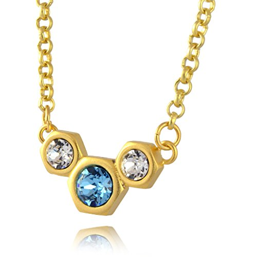 [Nara 3 Hexagon Necklace, Gold Plated Modern Honeycomb Bolt on Pendant with Blue Swarovski Crystal] (Cocktail Honey Costumes)