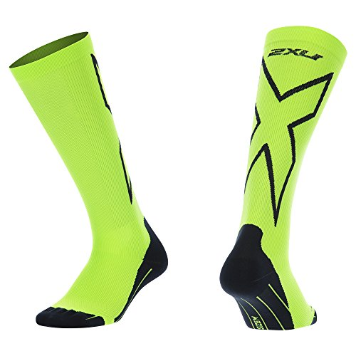 2XU Men's Compression performance X Socks, Fluoro Green/Black, X-Large