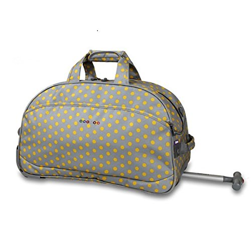 OS Single Piece Grey Polka Dot Rolling Duffel Bag, Fashion Carry On Lined, Polyester Material, Adjustable Strap, Telescoping Handle, Plenty Of Space, Attractive Style, Perfect for weekend road trip by OS