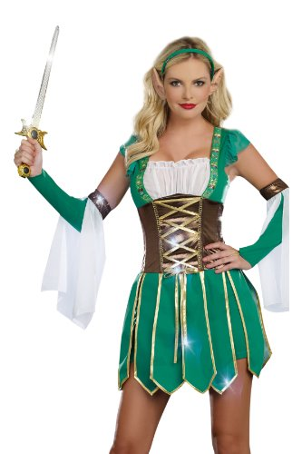 Warrior Elf Sexy Costumes - Dreamgirl Warrior Elf, Green, Medium