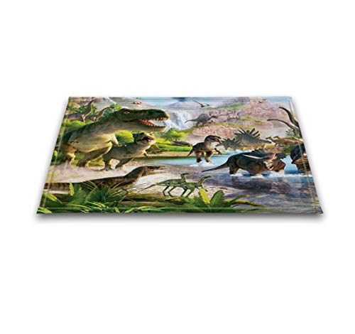 (LB Jurassic Age Dinosaur Illustration Decor Rugs for Bathroom Floor, Safe Non Slip Rubber Backing Comfortable Soft Surface, T-rex Predator House Decor Rug 15 x 23 Inches)