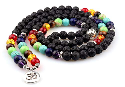 GVUSMIL 7 Chakra 108 Mala Beads Wrap Bracelets for Yoga Charm Natural Gemstone 8mm Lava Rock ()