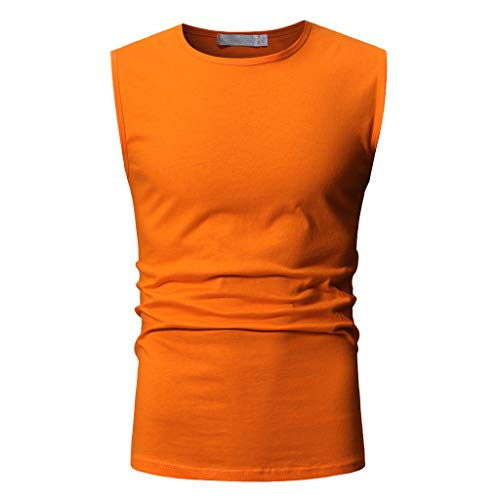 iHPH7 Tank Top Men Muscle Tank Top Sleeveless Workout & Training Activewear Shirt Men Trendy Casual Sleeveless T-Shirt Top Blouse XL Orange