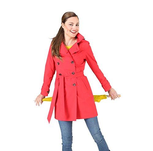 HappyRainyDays - Femme | Manteau impermable, trench-coat avec capuche, Veste de pluie Rouge