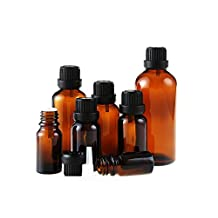 5ml/10ml/15ml/20ml/30ml/50ml Amber Glass Vial Essential Oil Bottles Attar Bottles with Orifice Reducer and Black Cap for Essential Oils, Chemistry Lab Chemicals, Colognes & Perfumes (5ml)