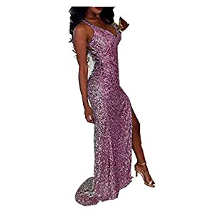 Uryouthstyle Sequins V-Neck Prom Dresses Sparkly Split Bridesmaid Gowns HJ0059