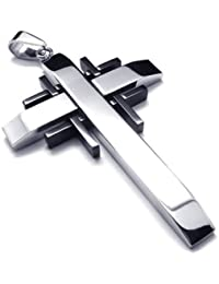 Black Silver Stainless Steel Cross Mens Womens Necklace Pendant 24 inches Chain