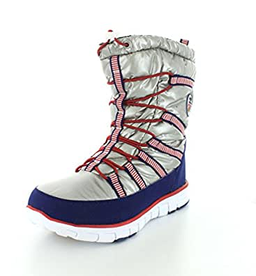 Khombu Womens Alta USA Silver/Red/Blue Winter Boot - 7