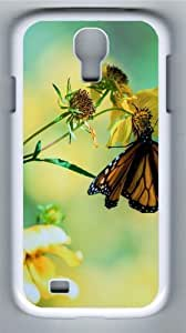 Butterfly on Flower Custom Samsung Galaxy I9500/Samsung Galaxy S4 Case Cover Polycarbonate White
