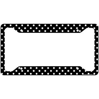 Amazon.com: Airstrike Polka Dots License Plate Frame, Black Polka ...