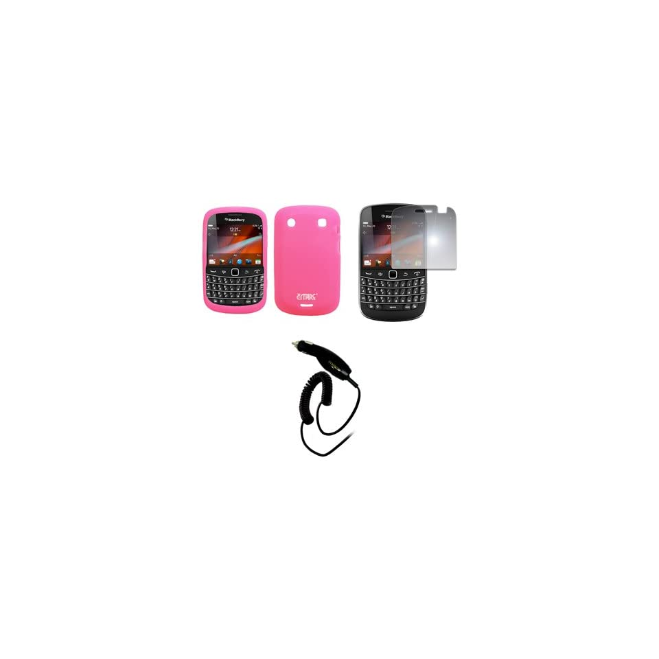 EMPIRE Pink Silicone Skin Case Cover + Mirror Screen Protector + Car Charger (CLA) for T Mobile BlackBerry Bold 9900