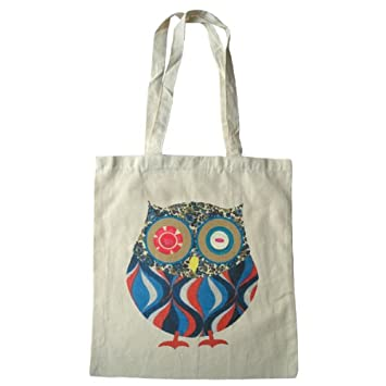 Owl bag, cute owl cotton tote bag with long handles: Amazon.co.uk ...