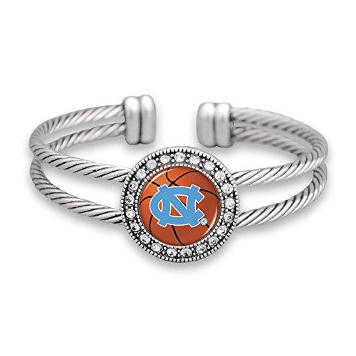 FTH North Carolina Tar Heels Silver Tone Double Cuff Bracelet with Basketball Logo