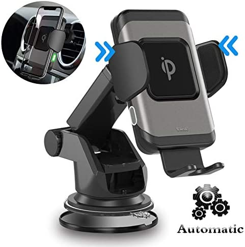 Woeau Wireless Car Charger Mount,Automatic Clamping QI Fast 10W 7.5W 5W Charging,Windshield Dashboard And Air Vent Phone Holder,Compatible iPhone X Max Xs XR 8 Plus,Samsung Galaxy S10 S9 S8 note 8