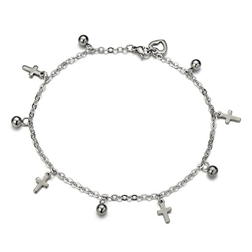 Acier Inoxydable Femme Bracelets de Cheville avec Croix et Perle Charms