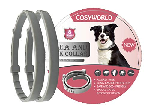 COSYWORLD 2 Pack Flea and Tick Collar for Dogs - 100% Natural Essential Oil Flea & Tick Prevention - Adjustable, Safe & Waterproof Flea Control Collar