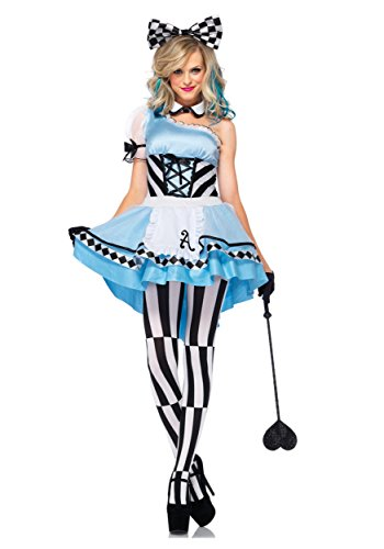 Fancy Dress Alice In Wonderland (Leg Avenue Women's 3 Piece Psychedelic Alice Costume, Blue/White, Medium)